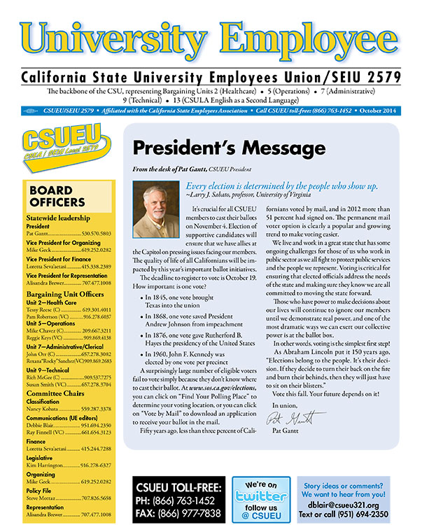 October 2014 Edition of University Employee