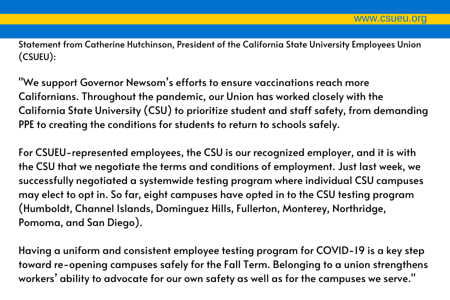 Union statement on new state vaccine rule